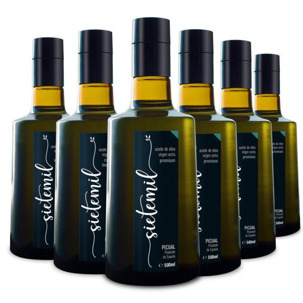 6 unidades de Aceite de Oliva Virgen Extra Sietemil Premium 500ml